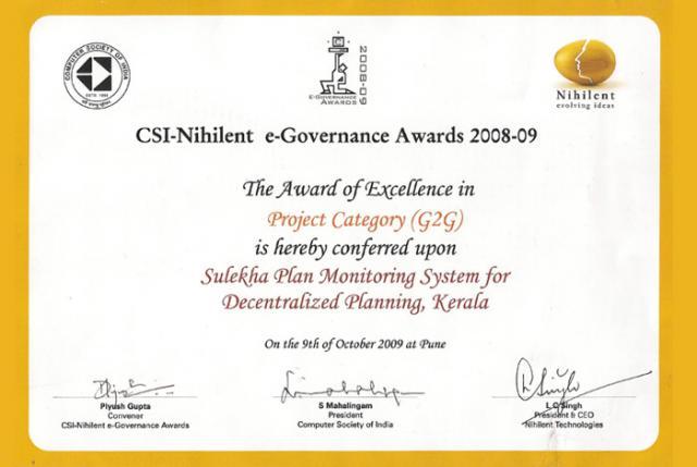 CSI-Nihilent e-Governance Awards 2008-09 - Certificate